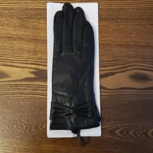 Leather M Lined Winter Gloves - Black